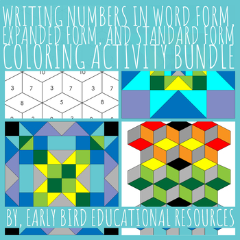 Word Form, Expanded Form, and Standard Form Coloring Activity Bundle