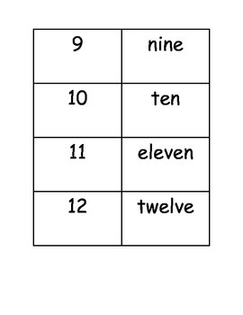 Word Form Memory Match Numbers 1-100
