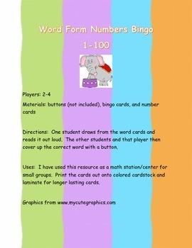 Word Form Number Bingo 1-100