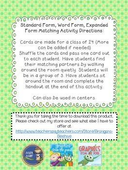 Word Form, Standard Form, and Expanded Form Activity