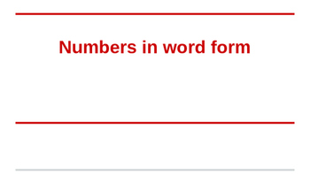 Word Form and standard number practice