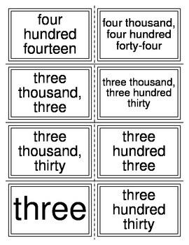 Word Form to Standard Form Task Cards (TEKS 2.2A)