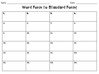 Word Form to Standard Form WITH ZEROS Task Cards