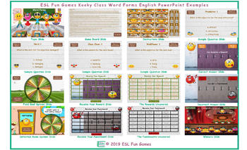 Word Forms Kooky Class English PowerPoint Game