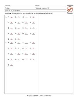 Word Forms Spanish Matching Exam