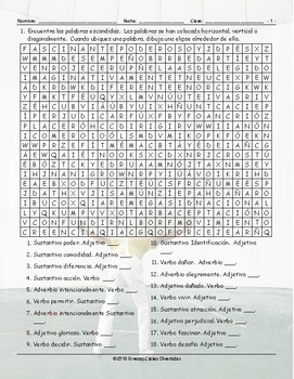 Word Forms Spanish Word Search Worksheet