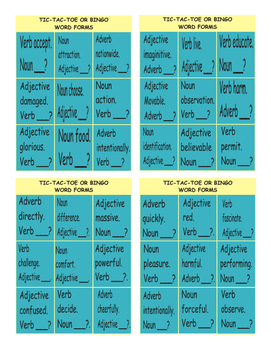 Word Forms Tic-Tac-Toe or Bingo