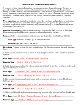 Word Formulas and Chemical Equation Writing Practice