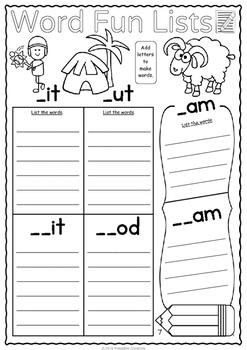 Word Fun Lists - Literacy Sheets