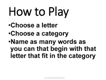 Word Game - Categories - Great End of the Year Activity or Time Filler