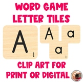 Word Game Letter Tiles for Digital or Printable Resources