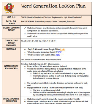 Word Generation Series 2: Topic 2.01 - ELA Launch Lesson Plan & Google Slides