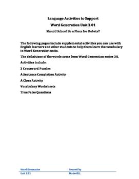 Word Generation 3.01 Supplemental Activities