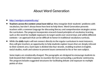 Word Generation Full Lesson To Promote Academic Vocabulary