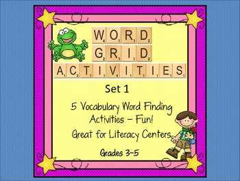 Word Grid Activities Vocabulary Games Set 1