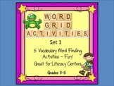 Word Grid Activities Vocabulary Games Set 1