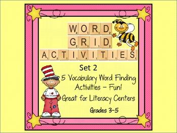 Word Grid Vocabulary Activities Set 2