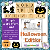 Halloween Word Grid Vocabulary Activities (5 days)