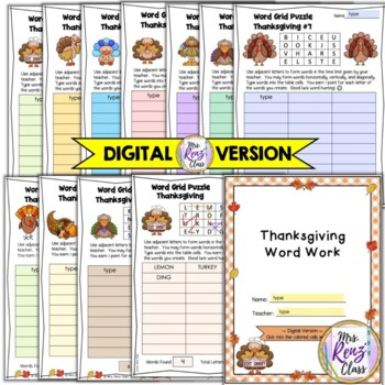 Thanksgiving Word Grid Activities (5 days)
