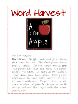 Word Harvest - Dolch Pre-Primer Game