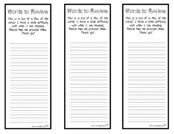 Guided Reading Words to Review Bookmarks