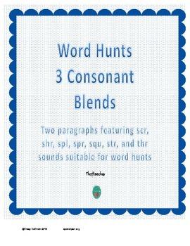 Word Hunt 3 Consonant Blends