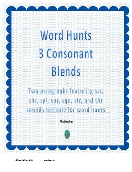 Word Hunt 3 Consonant Blends