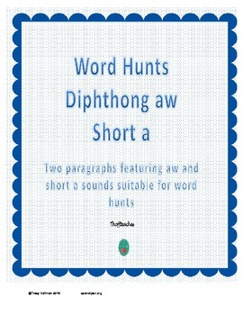 Word Hunt AW vs Short A