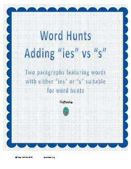 "Word Hunt Adding ""ies"" vs ""s"""