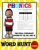 Word Hunt Final Consonant -ke, -ck, and -k