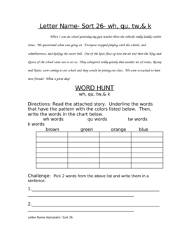 Word Hunt: Letter Name Alphabetic 26: wh, qu, tw, k