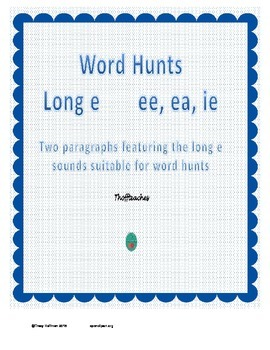 Word Hunt Long E ee, ea, ie