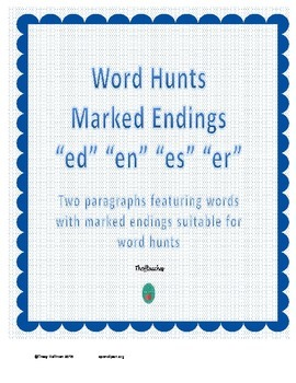 "Word Hunt Marked Endings ""es"" ""en"" ""er"" ""ed"""