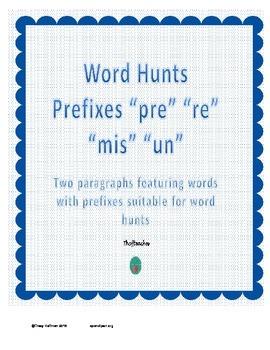 """Word Hunt Prefixes """"mis"""" """"pre"""" """"re"""" """"un"""""""