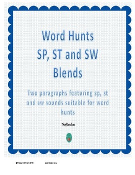 Word Hunt SP, ST and SW