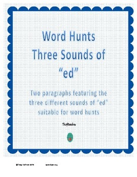 "Word Hunt Three Sounds of ""ed"""