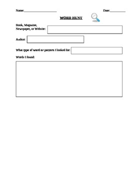Word Hunt Worksheet and Example