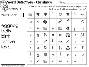 Word Hunts Christmas Vocabulary
