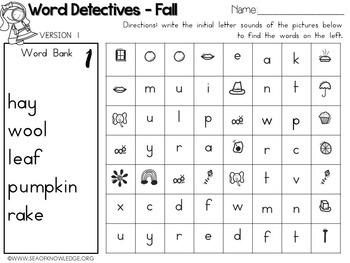 Word Hunts Fall Vocabulary