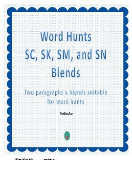 Word Hunts SC, SK, SM and SN blends