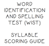 Word Identification and Spelling Test - WIST Syllable Scor