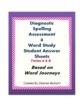Word Journeys Student Assessment Sheets