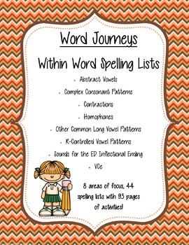 Word Journeys Within Word - Spelling Lists and Activities