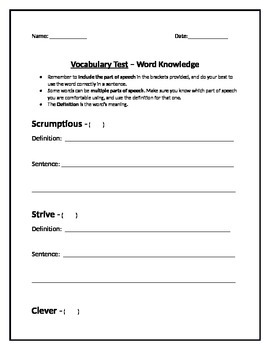 Word Knowledge - Vocabulary Test