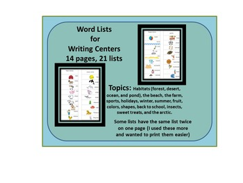 Word LIsts for Writers Workshop or Centers