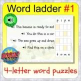 Word Ladder 1 (32 BOOM CARDS digital distance learning dec