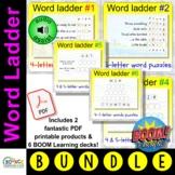 Word Ladder MEGA bundle: Word puzzle task card and virtual