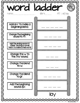 image about Word Ladders Printable known as Phrase Ladders: Vowel Digraphs (1st and 2nd quality)
