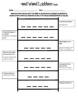 Word Ladders -ORD Spelling Pattern