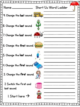 Word Ladders {Short Vowel Sounds}